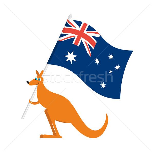 Australia Day emblem holiday. Kangaroos and Australian flag. Log Stock photo © popaukropa