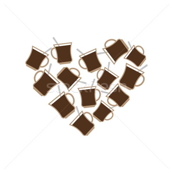 Coffee Mug heart. I love caffeine. I like to drink tea Stock photo © popaukropa