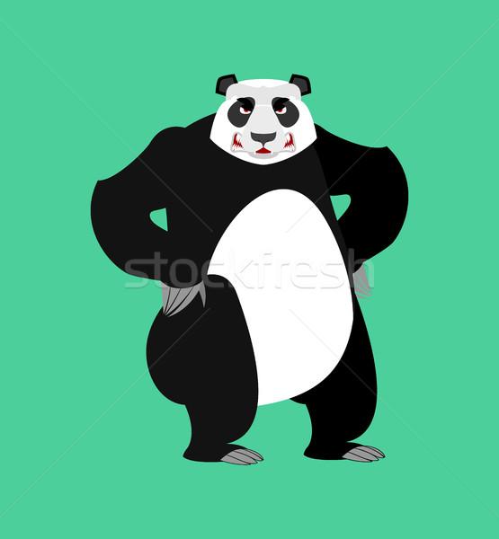 Panda angry Emoji. Chinese bear Aggressive emotion isolated Stock photo © popaukropa