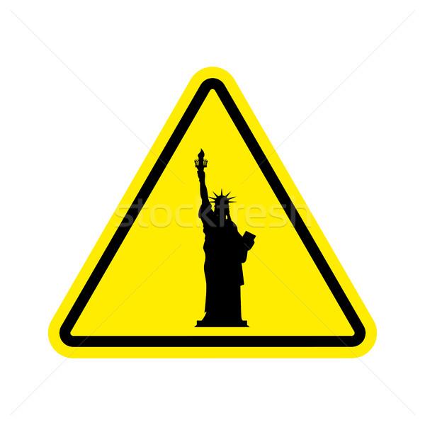 Aufmerksamkeit america Statue Freiheit gelb Dreieck Stock foto © popaukropa
