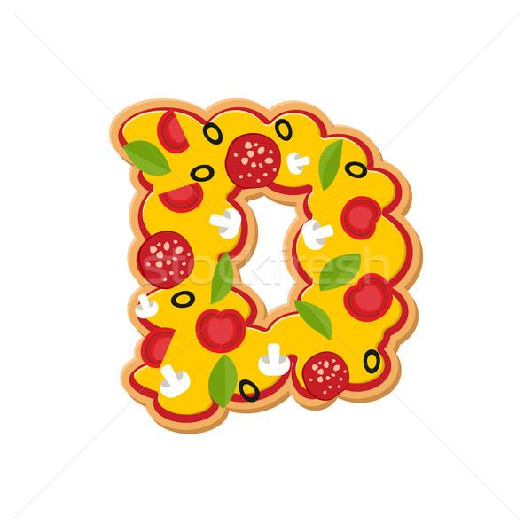 D betű pizza betűtípus olasz étel ábécé Stock fotó © popaukropa