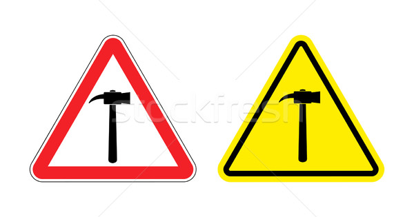 Warning sign attention hammer. Hazard yellow sign construction w Stock photo © popaukropa