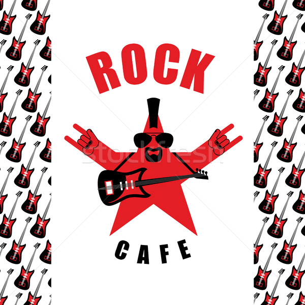 Rock Cafe. Logo template for music rock bar. Star with electro  Stock photo © popaukropa