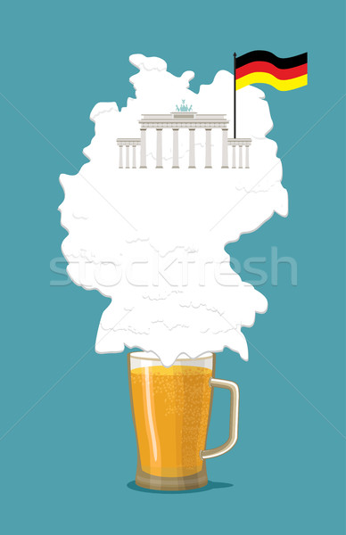 Beer with foam silhouette German map. Brandenburg Gate and flag  Stock photo © popaukropa