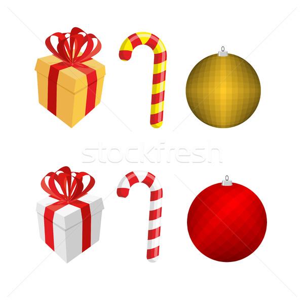 Szett ikonok karácsony új év ajándék doboz borsmenta Stock fotó © popaukropa