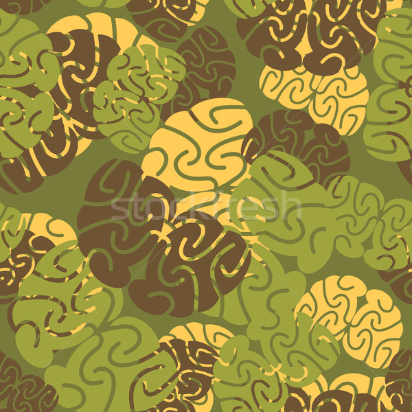 Military texture of brains. Camouflage army seamless pattern of  Stock photo © popaukropa