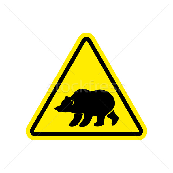 Bear Warning sign yellow. Predator Hazard attention symbol. Dang Stock photo © popaukropa