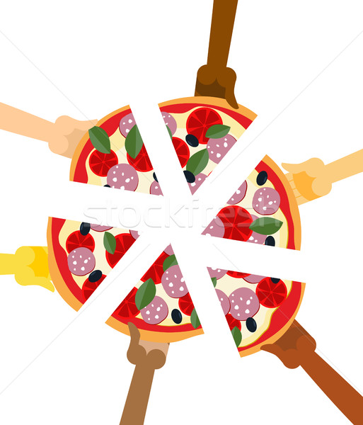 People eating pizza. Hands holding slice of pie. Friendship illu Stock photo © popaukropa