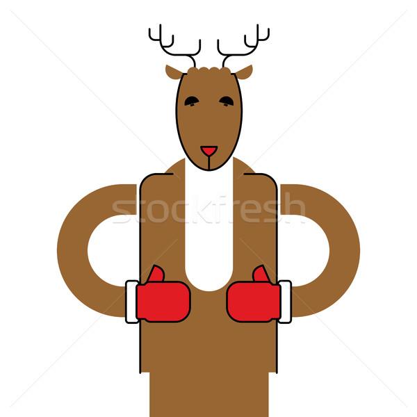 Szarvas mikulás izolált karácsony állat bestia Stock fotó © popaukropa