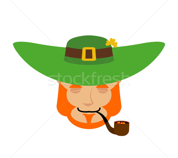 Leprechaun sleeping. Dwarf with red beard asleep Emoji. Irish el Stock photo © popaukropa