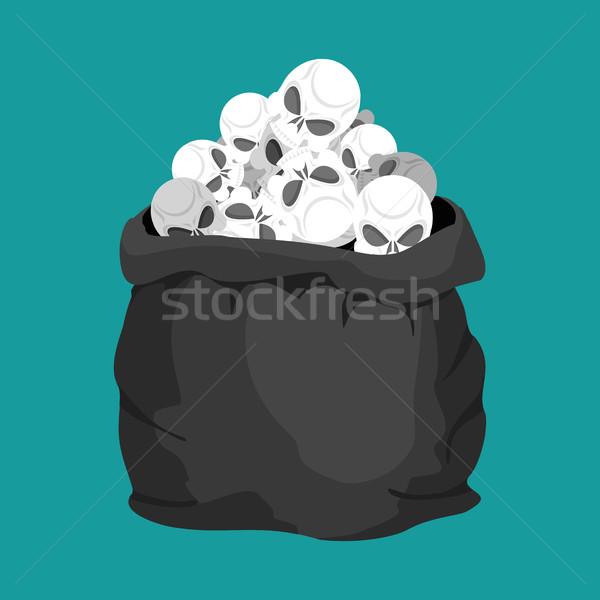 Schedels zak dood zak skelet hoofd Stockfoto © popaukropa