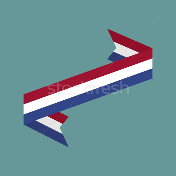 Netherlands flag ribbon isolated. Dutch tape banner. National sy Stock photo © popaukropa