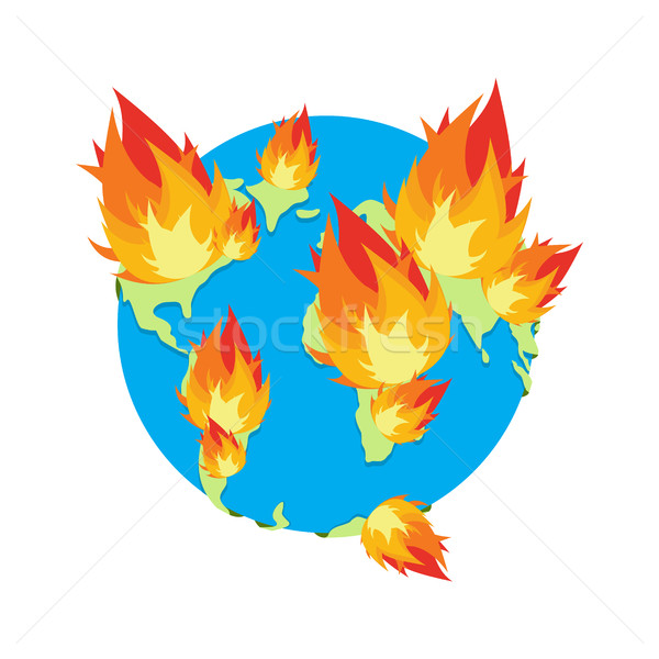 Earth on fire. Planet is burning. Disaster. doomsday Stock photo © popaukropa