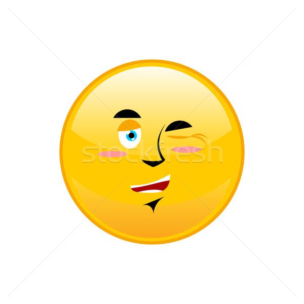 изолированный счастливым желтый круга эмоций улыбка Сток-фото © popaukropa