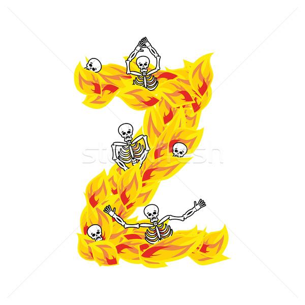 Vlammen doopvont vurig brand alfabet Stockfoto © popaukropa