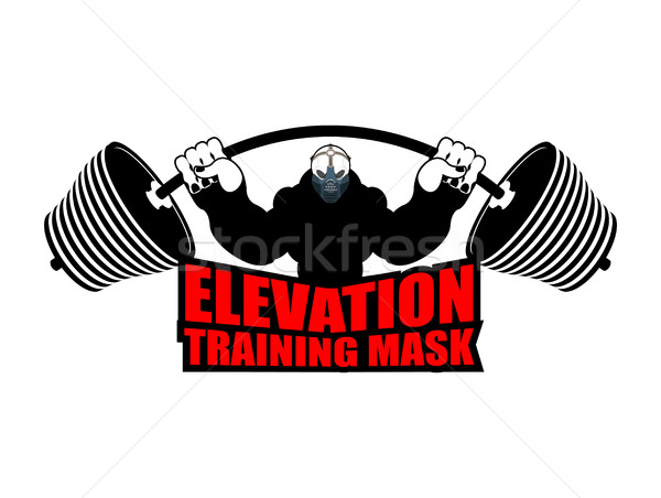 Elevation Training mask fitness. Athlete and barbell. Emblem for Stock photo © popaukropa