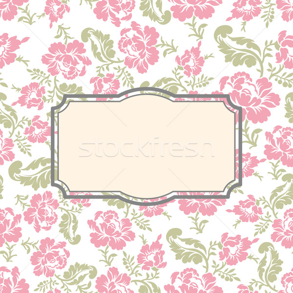 Roses floral card. Frame template to text. Vector illustration b Stock photo © popaukropa