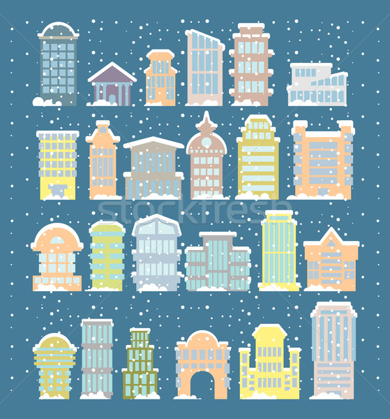 Winter buildings icons. Skyscrapers and towers in snowfall. Snow Stock photo © popaukropa