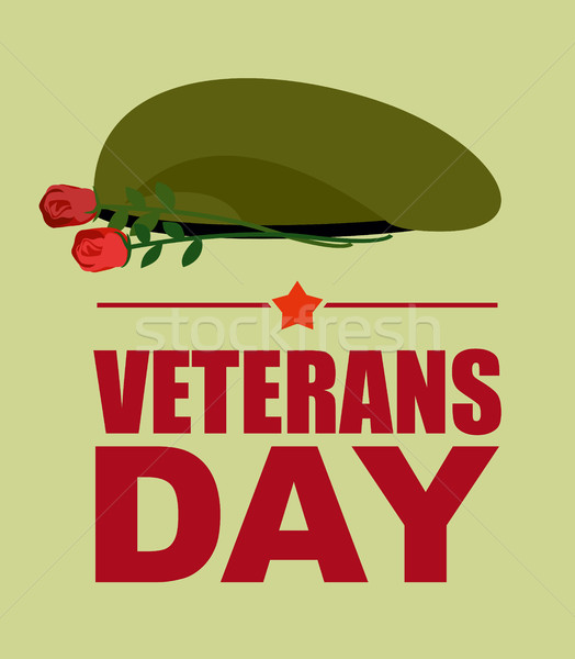 Soldiers green beret and flowers. Veterans Day. Vector illustrat Stock photo © popaukropa