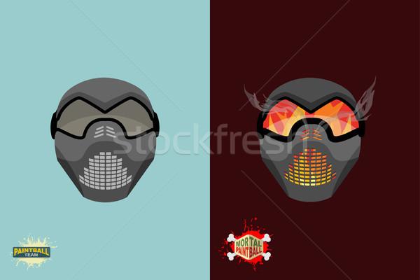Establecer paintball máscara signo grupo cráneo Foto stock © popaukropa