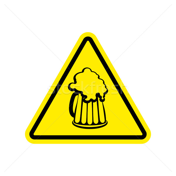 Beer Warning sign yellow. Alcohol Hazard attention symbol. Dange Stock photo © popaukropa