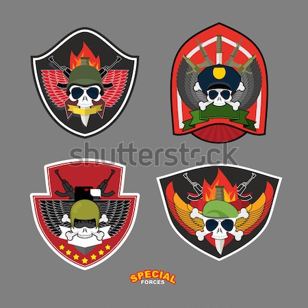 Army logo Skull. Soldiers badge. Military emblem. Wings and weap Stock photo © popaukropa