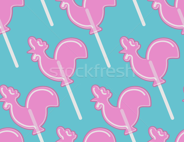 lollipops Cock texture. Cockerel candy seamless pattern. Caramel Stock photo © popaukropa