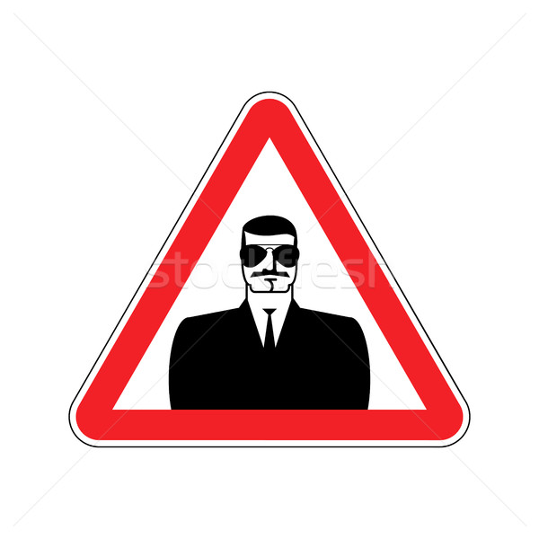 Spy Warning sign red. Secret Agent Hazard attention symbol. Dang Stock photo © popaukropa