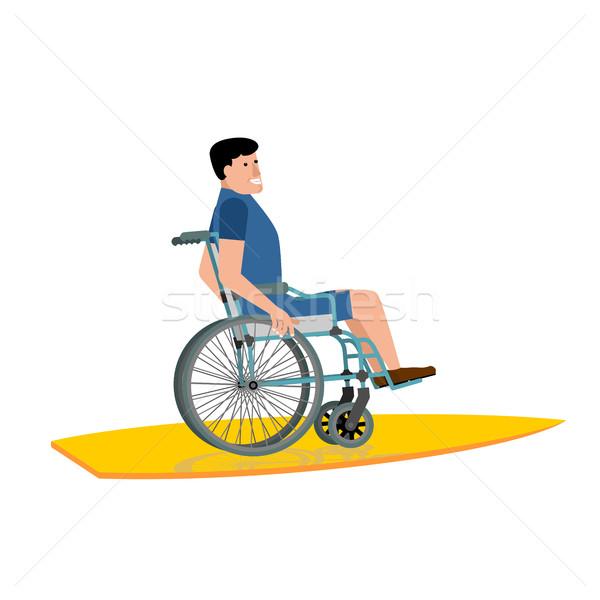 инвалидов Surfer коляске доска для серфинга белый воды Сток-фото © popaukropa