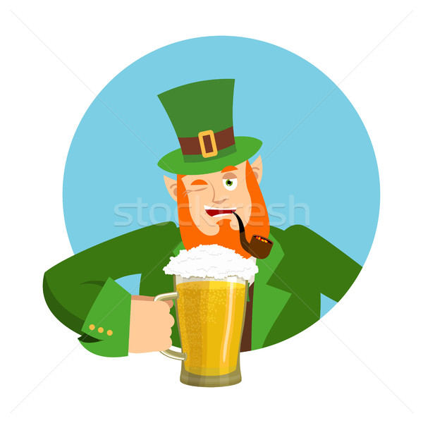 Stock photo: Happy St.Patrick 's Day. Leprechaun and mug beer. Dwarf with red