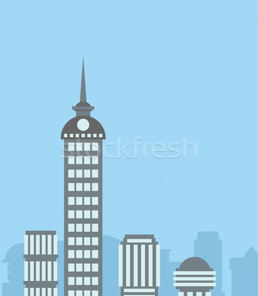City landscape. Skyscrapers background. Capital backdrop. Blue s Stock photo © popaukropa