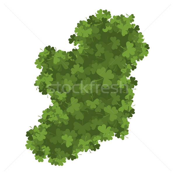 Ireland map of Clover. shamrock Irish land area Stock photo © popaukropa