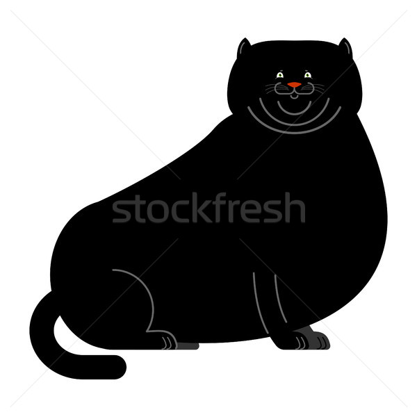 Fat black cat isolated. Big Thick pet home Stock photo © popaukropa