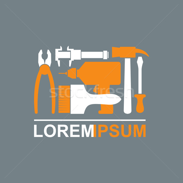 Stock photo: Logo of Construction tools. Carpentry tools to master. Pliers, s