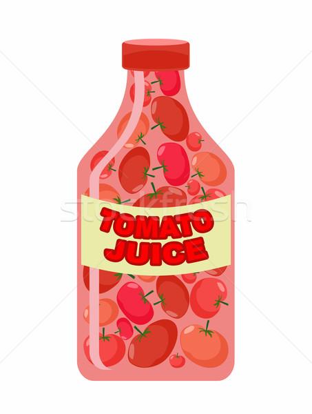 トマトジュース ジュース 新鮮な野菜 トマト 透明な ボトル ストックフォト © popaukropa