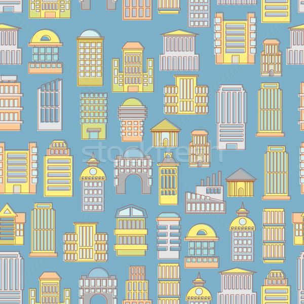 Megapolis seamless pattern. Background of  buildings city. Munic Stock photo © popaukropa