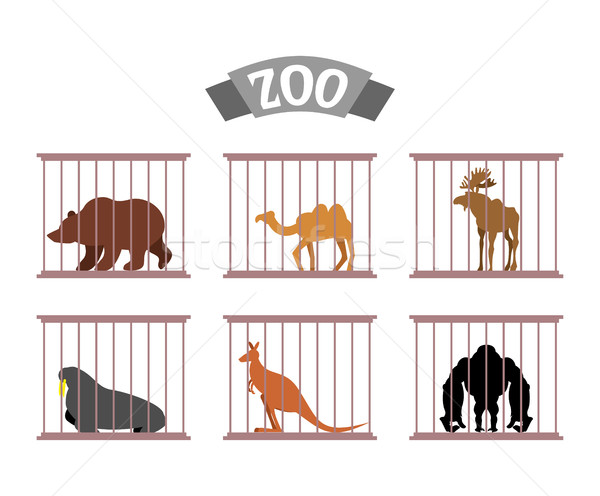 Zoo. Collection of wild animals in cages. Beasts behind bars. Be Stock photo © popaukropa