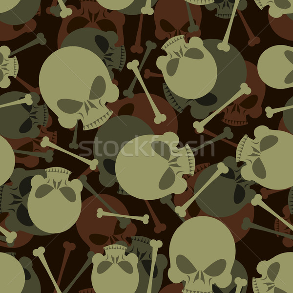 Skull and Bones military pattern. Skeleton army ornament. Death  Stock photo © popaukropa