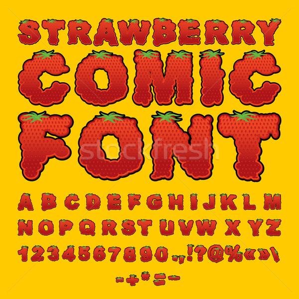 клубника комического шрифт ягодные красный свежие фрукты Сток-фото © popaukropa
