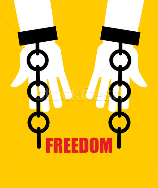 Freedom. Broken fetters. Liberation from slavery. Broken chain h Stock photo © popaukropa
