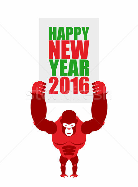 Monkey holds a plate of 'Happy new year 2016'. Big Red Gorilla - Stock photo © popaukropa