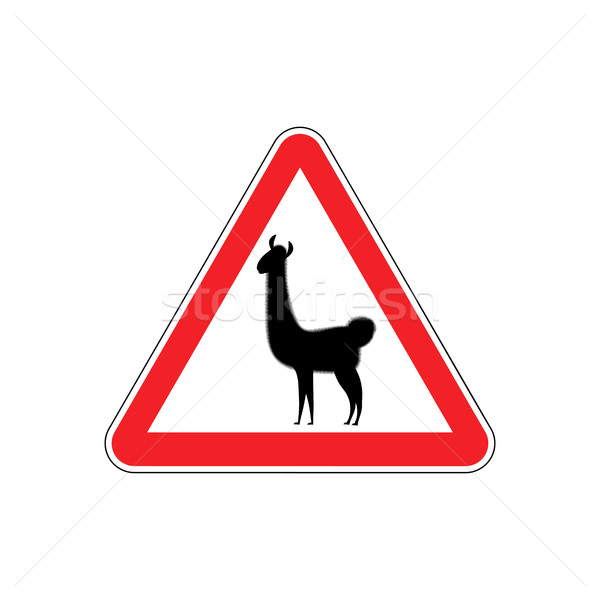 Lama Warning sign red. llama Hazard attention symbol. Danger roa Stock photo © popaukropa