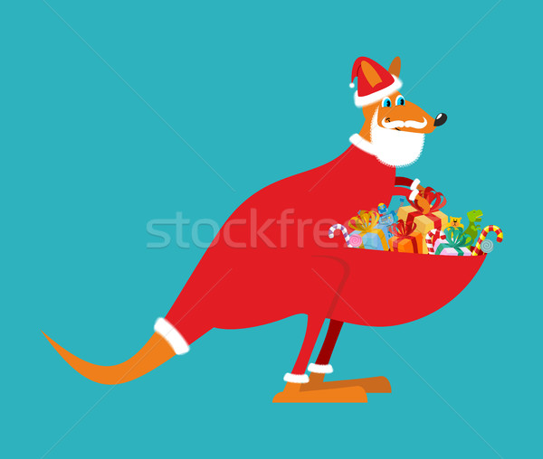 Australian Kangaroo Santa. Wallaby in Christmas cap. Gifts in ba Stock photo © popaukropa
