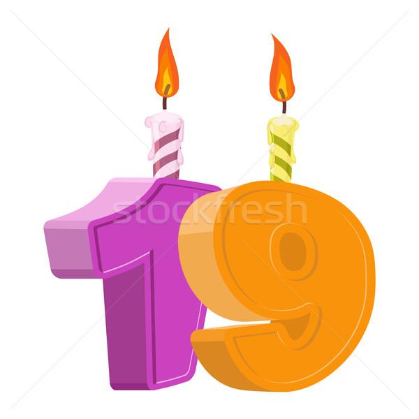 19 yıl doğum günü numara mum Stok fotoğraf © popaukropa