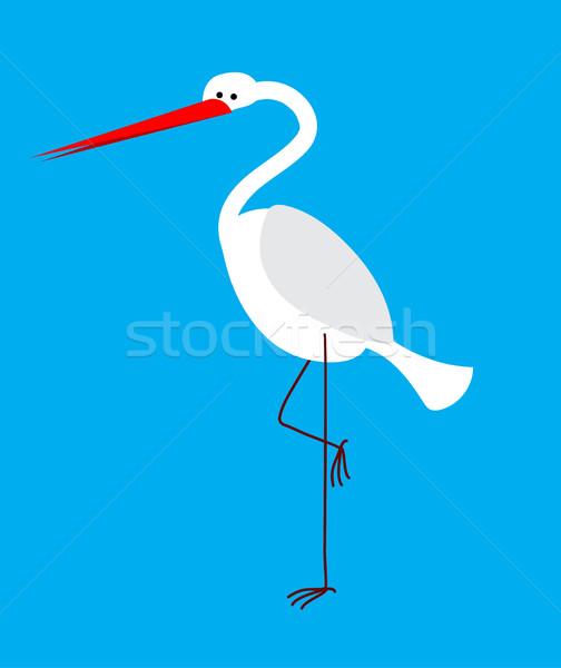 Kócsag izolált madár hosszú lábak csőr toll Stock fotó © popaukropa