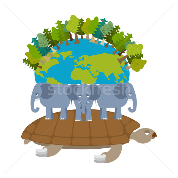 Mythological planet earth. turtle carrying elephants. Ancient re Stock photo © popaukropa