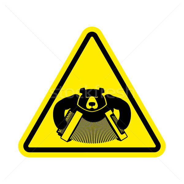Stock photo: Warning Russia. bear with accordion with yellow triangle. Road s