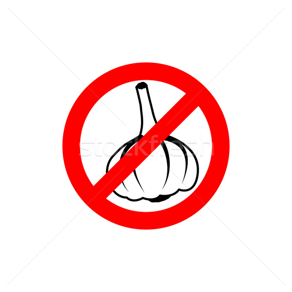 Stop garlic. Prohibiting road sign. Prohibited pungent smell Stock photo © popaukropa