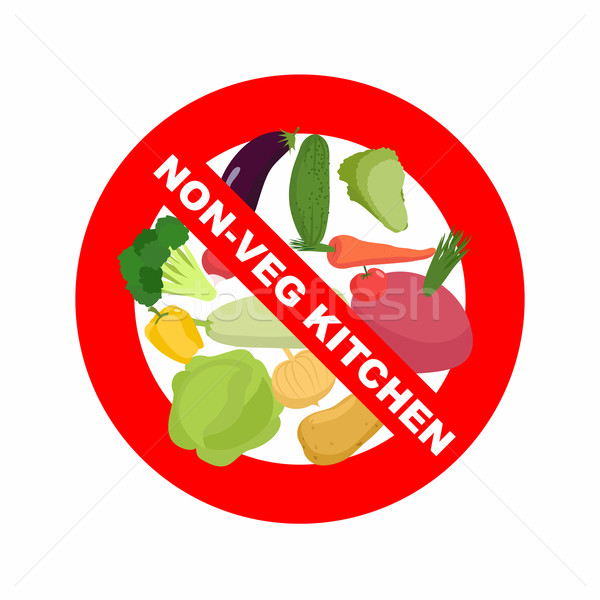 Stop sign. Banning Red sign. Strikethrough vegetables: potatoes  Stock photo © popaukropa