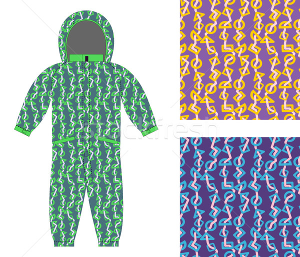Children winter coverall template with an abstract pattern. Set  Stock photo © popaukropa